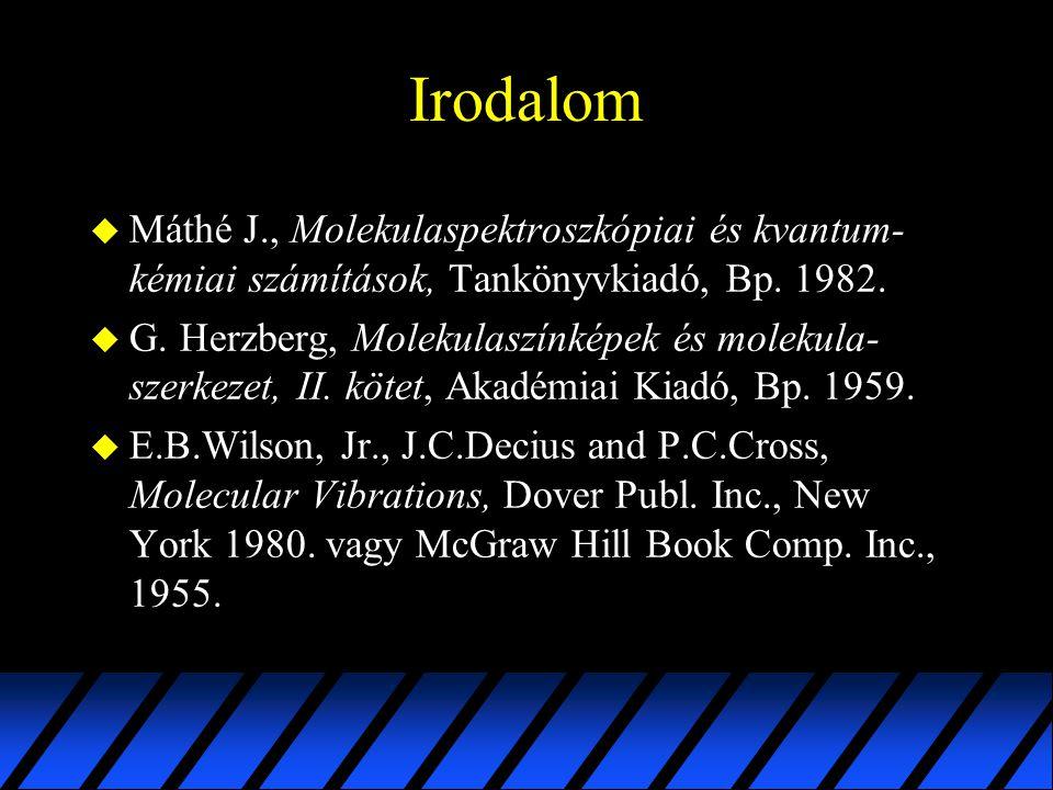 Irodalom Máthé J., Molekulaspektroszkópiai és kvantum-kémiai számítások, Tankönyvkiadó, Bp. 1982.