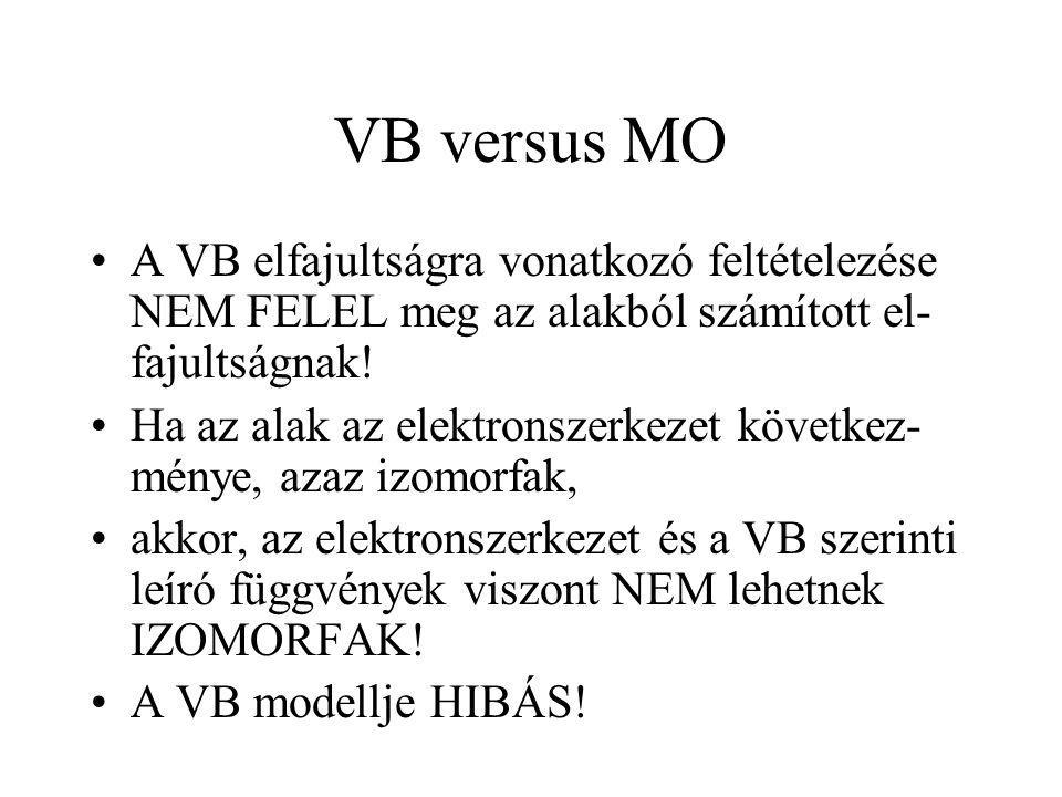 VB versus MO A VB elfajultságra vonatkozó feltételezése NEM FELEL meg az alakból számított el-fajultságnak!