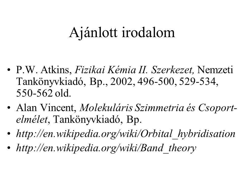 Ajánlott irodalom P.W. Atkins, Fizikai Kémia II. Szerkezet, Nemzeti Tankönyvkiadó, Bp., 2002, 496-500, 529-534, 550-562 old.