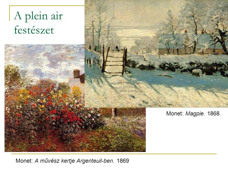 A plein air festészet Monet: Magpie. 1868.