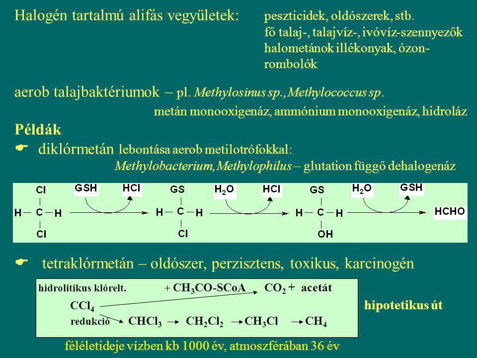 Halogén tartalmú alifás vegyületek:. peszticidek, oldószerek, stb