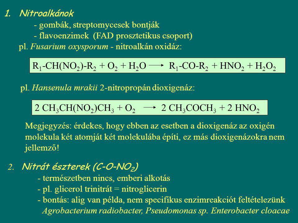 R1-CH(NO2)-R2 + O2 + H2O R1-CO-R2 + HNO2 + H2O2
