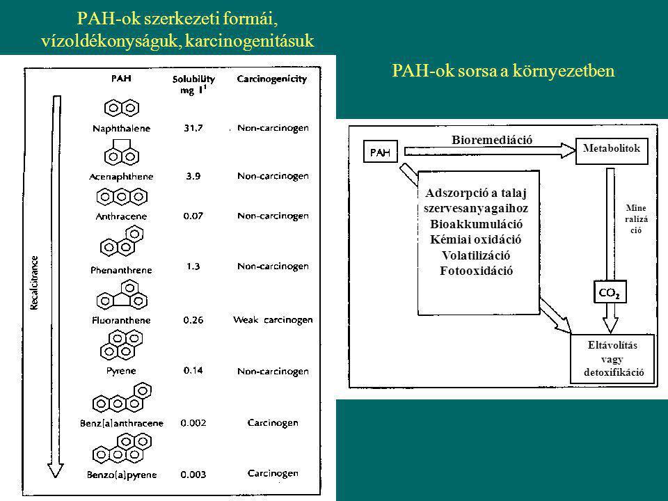 PAH-ok szerkezeti formái, vízoldékonyságuk, karcinogenitásuk
