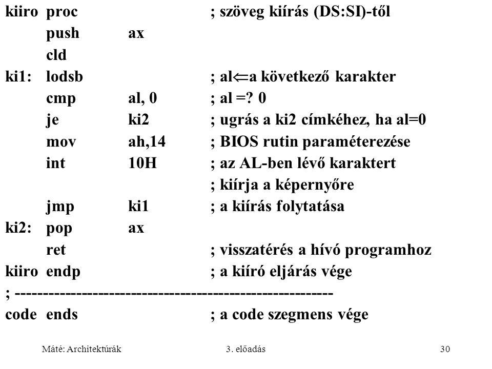 kiiro proc ; szöveg kiírás (DS:SI)-től push ax cld
