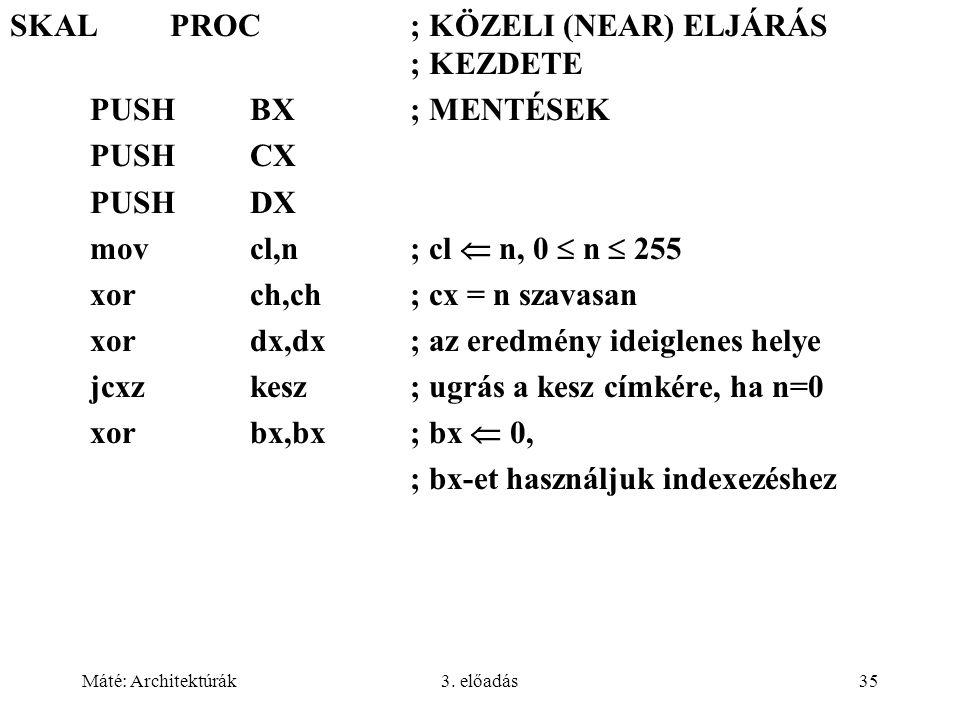 SKAL PROC ; KÖZELI (NEAR) ELJÁRÁS ; KEZDETE PUSH BX ; MENTÉSEK PUSH CX