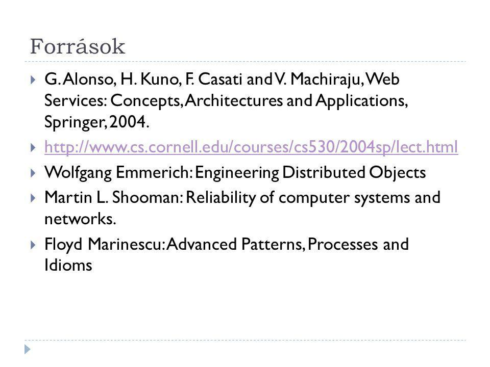 Források G. Alonso, H. Kuno, F. Casati and V. Machiraju, Web Services: Concepts, Architectures and Applications, Springer, 2004.