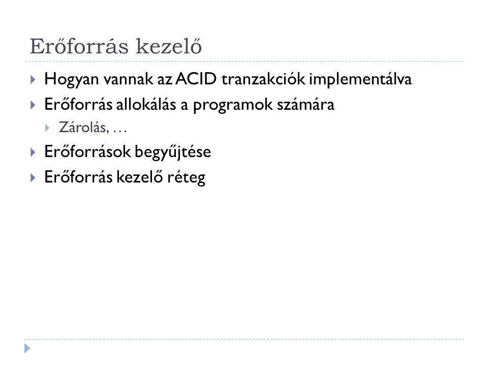 Erőforrás kezelő Hogyan vannak az ACID tranzakciók implementálva