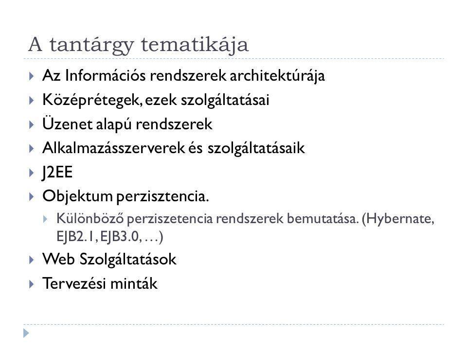 A tantárgy tematikája Az Információs rendszerek architektúrája