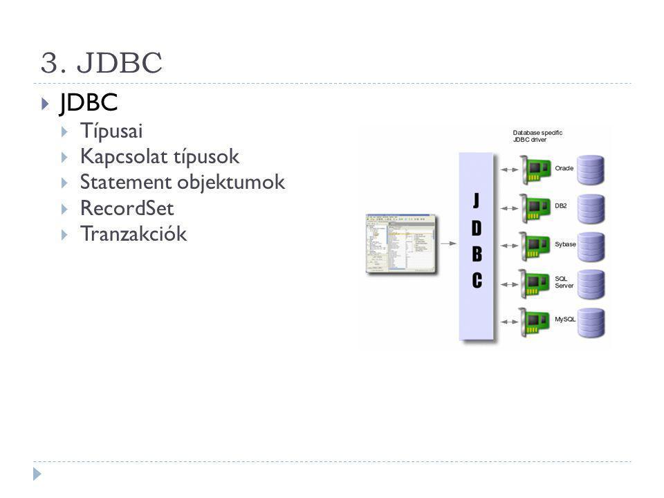3. JDBC JDBC Típusai Kapcsolat típusok Statement objektumok RecordSet