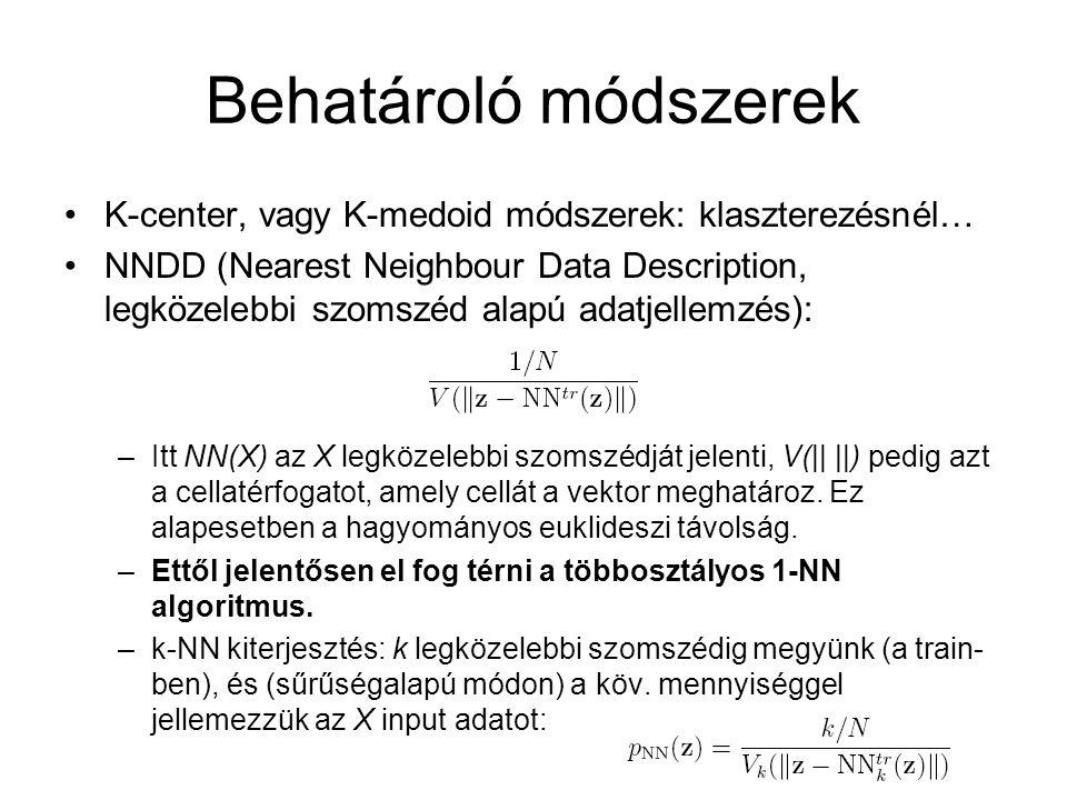 Behatároló módszerek K-center, vagy K-medoid módszerek: klaszterezésnél…