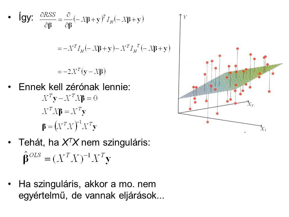 Így: Ennek kell zérónak lennie: Tehát, ha XTX nem szinguláris: Ha szinguláris, akkor a mo.