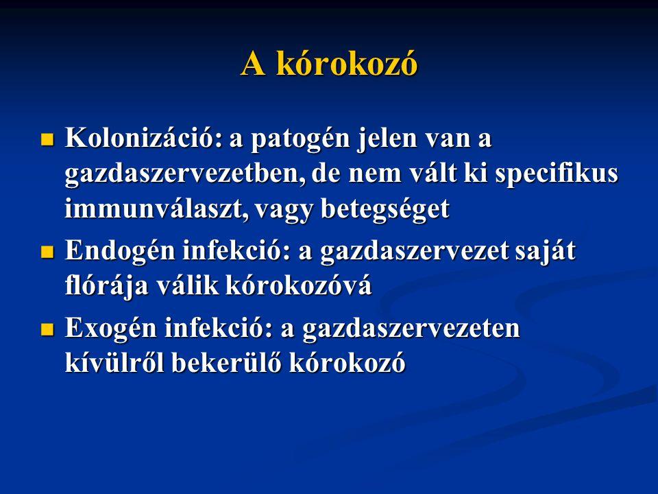 A kórokozó Kolonizáció: a patogén jelen van a gazdaszervezetben, de nem vált ki specifikus immunválaszt, vagy betegséget.