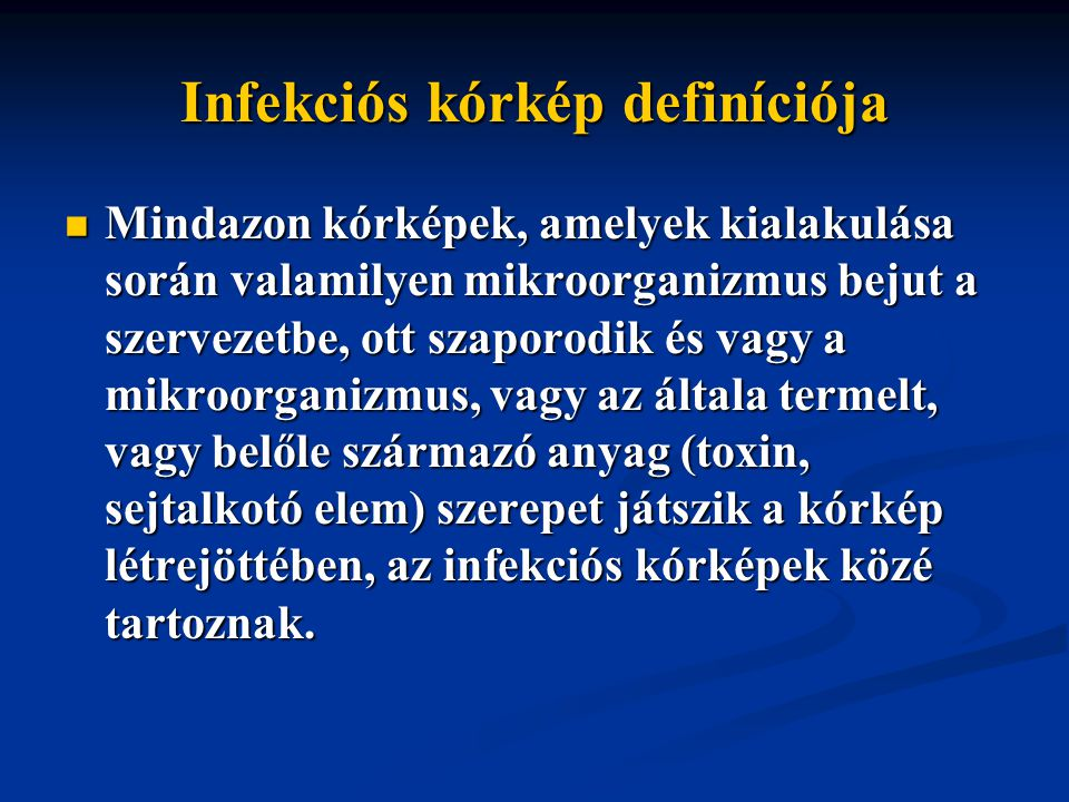 Infekciós kórkép definíciója