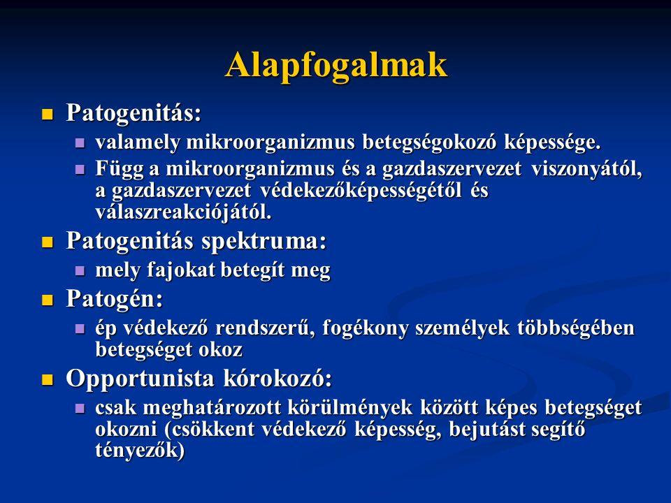 Alapfogalmak Patogenitás: Patogenitás spektruma: Patogén: