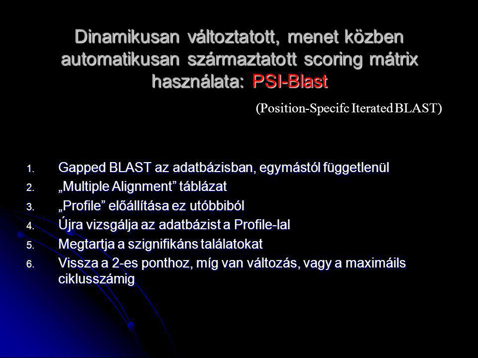 Dinamikusan változtatott, menet közben automatikusan származtatott scoring mátrix használata: PSI-Blast