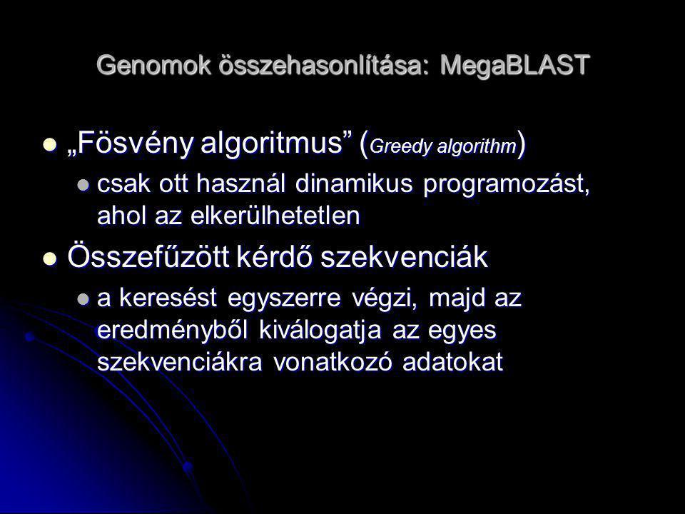 Genomok összehasonlítása: MegaBLAST