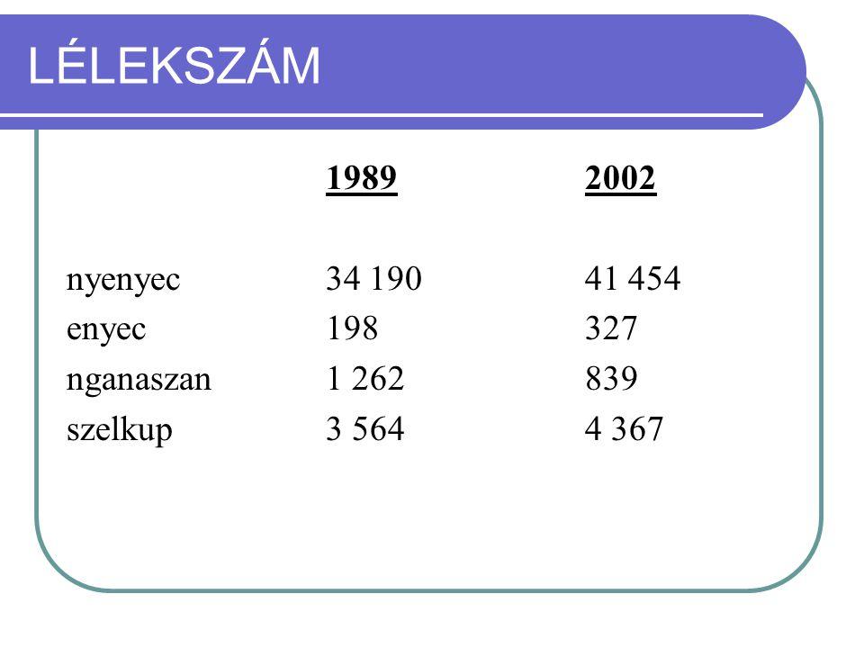 LÉLEKSZÁM 1989 2002 nyenyec 34 190 41 454 enyec 198 327