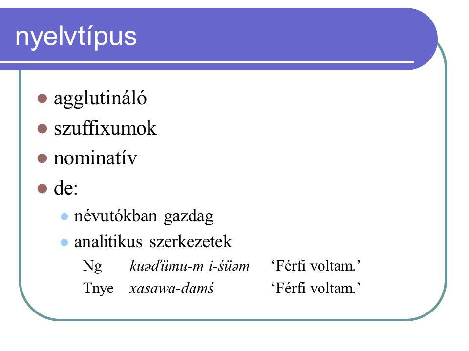 nyelvtípus agglutináló szuffixumok nominatív de: névutókban gazdag