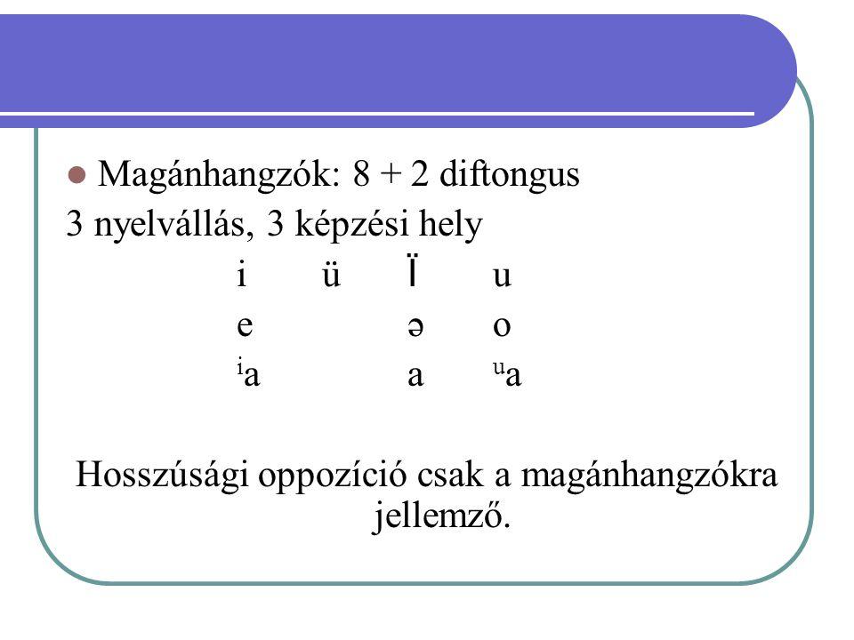 Hosszúsági oppozíció csak a magánhangzókra jellemző.