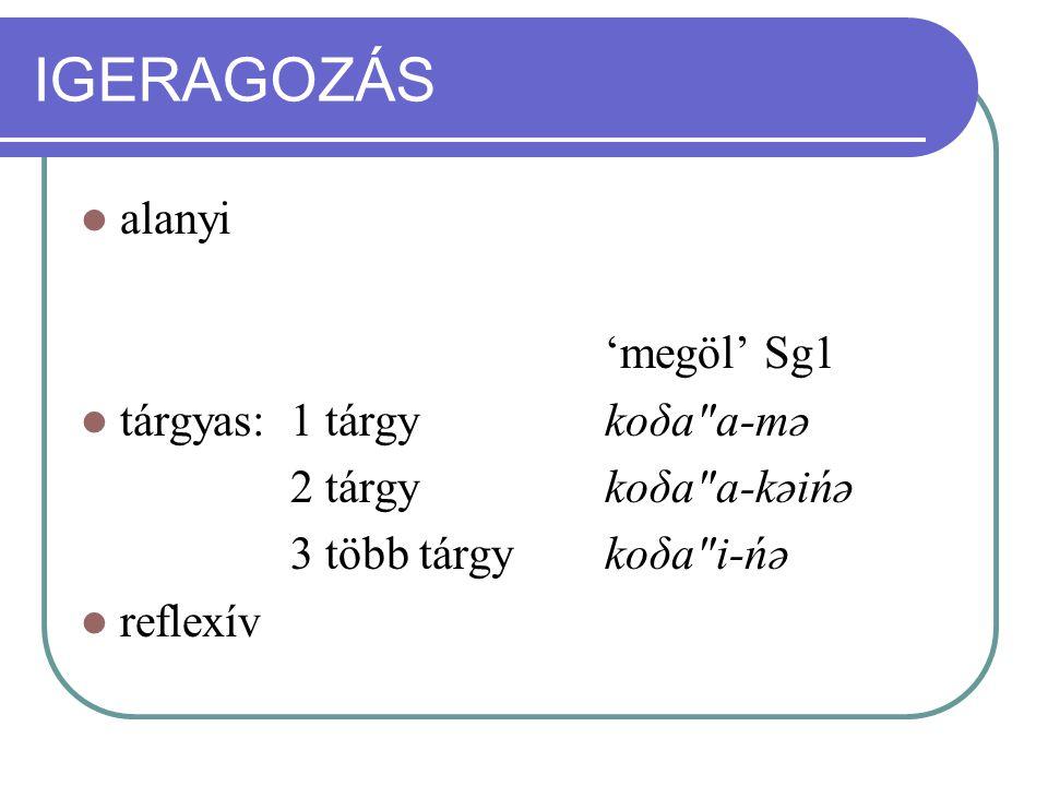 IGERAGOZÁS alanyi 'megöl' Sg1 tárgyas: 1 tárgy koδa a-mə