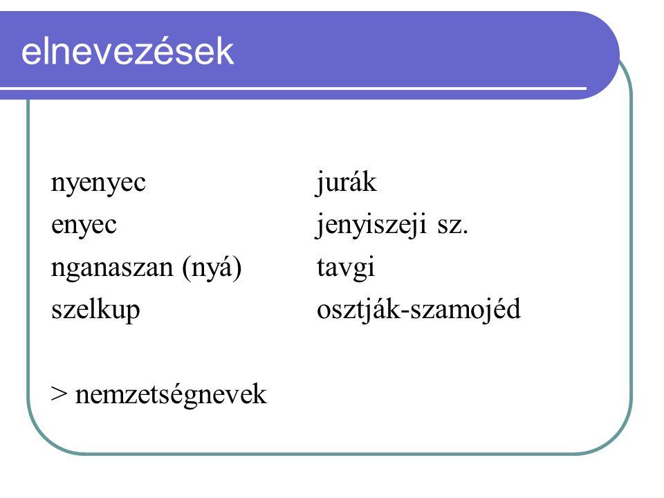 elnevezések nyenyec jurák enyec jenyiszeji sz. nganaszan (nyá) tavgi