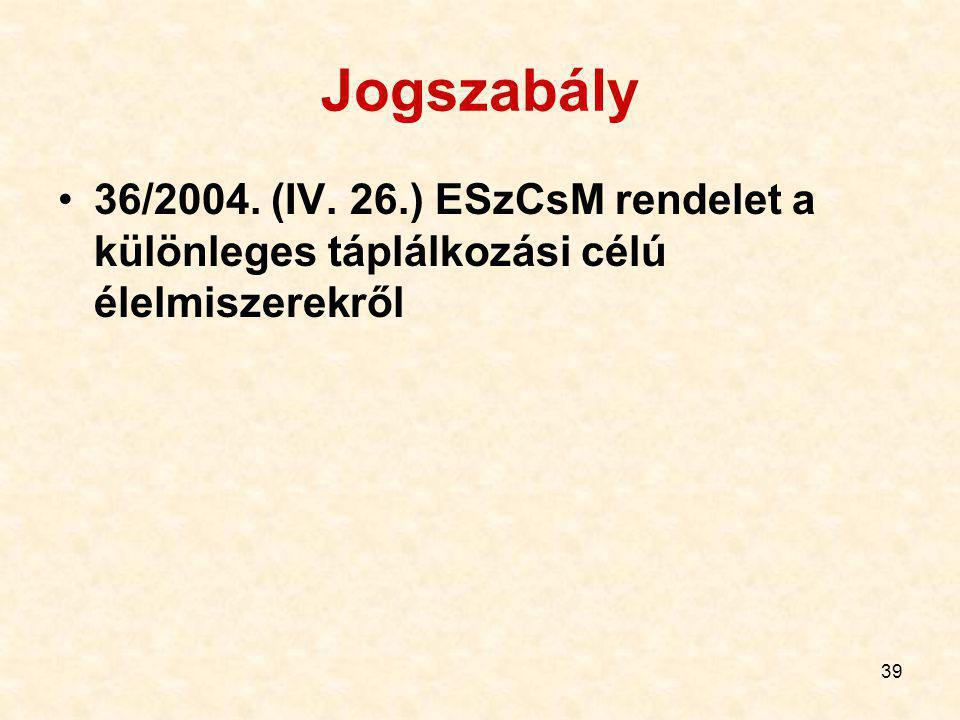 Jogszabály 36/2004. (IV. 26.) ESzCsM rendelet a különleges táplálkozási célú élelmiszerekről