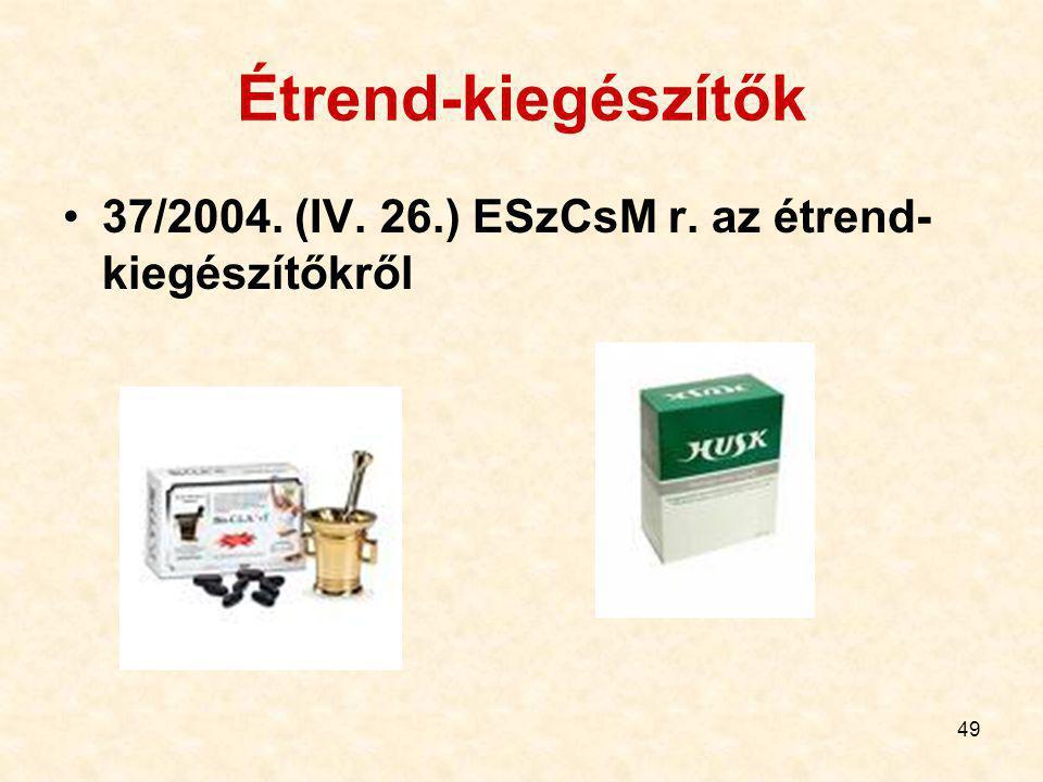 Étrend-kiegészítők 37/2004. (IV. 26.) ESzCsM r. az étrend-kiegészítőkről