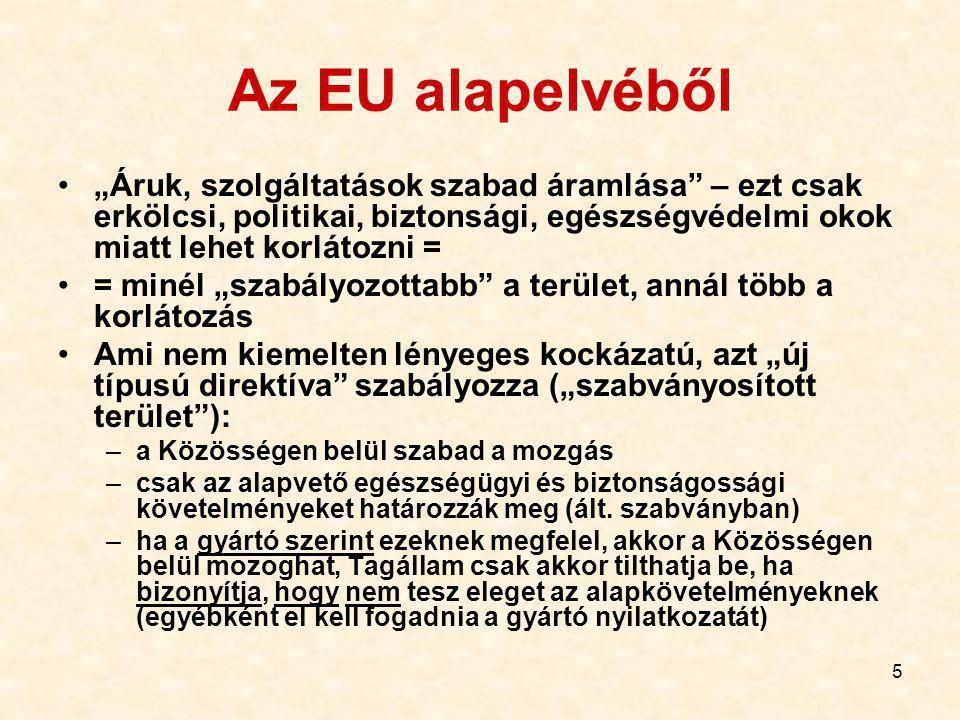 """Az EU alapelvéből """"Áruk, szolgáltatások szabad áramlása – ezt csak erkölcsi, politikai, biztonsági, egészségvédelmi okok miatt lehet korlátozni ="""