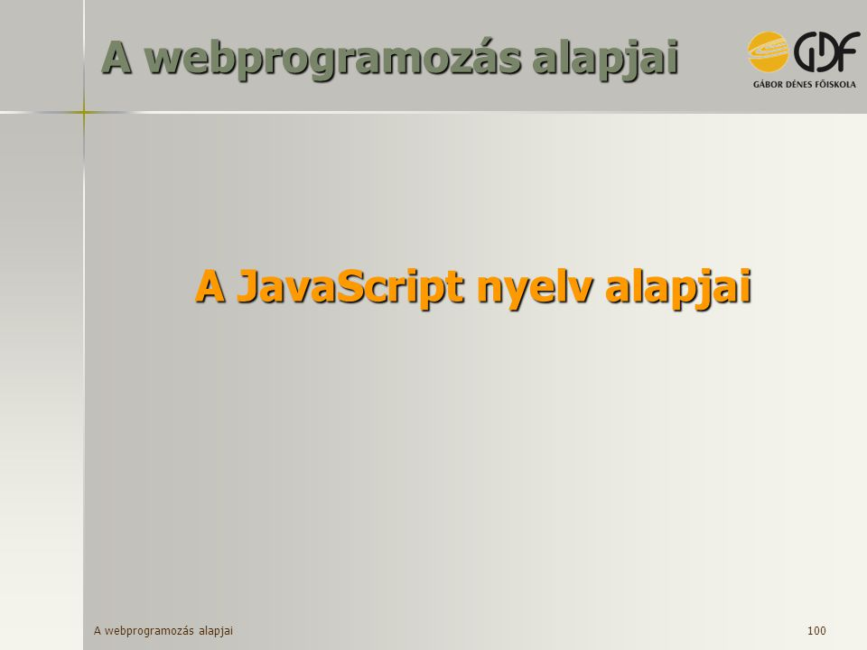 A JavaScript nyelv alapjai