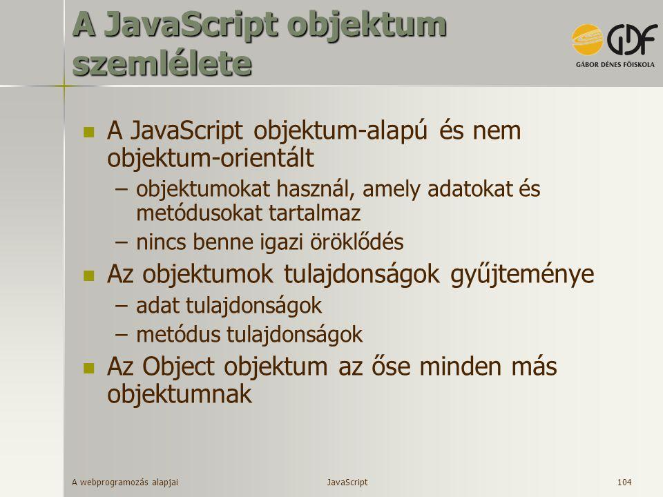 A JavaScript objektum szemlélete