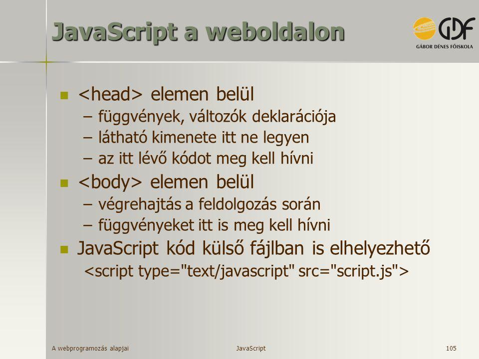 JavaScript a weboldalon