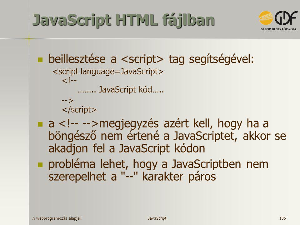 JavaScript HTML fájlban