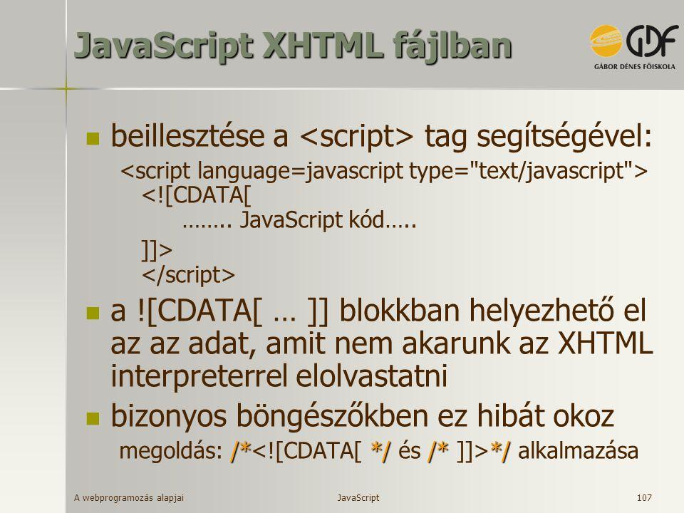 JavaScript XHTML fájlban