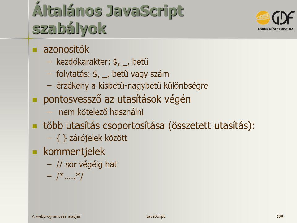 Általános JavaScript szabályok