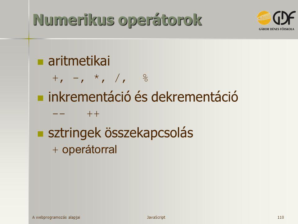 Numerikus operátorok aritmetikai inkrementáció és dekrementáció