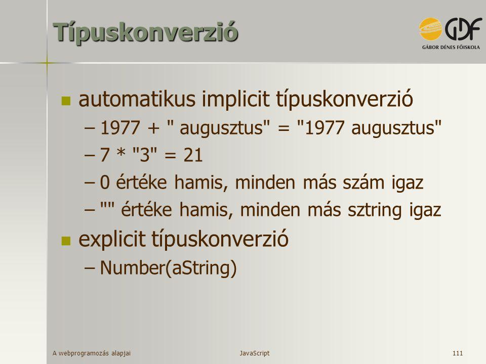 Típuskonverzió automatikus implicit típuskonverzió