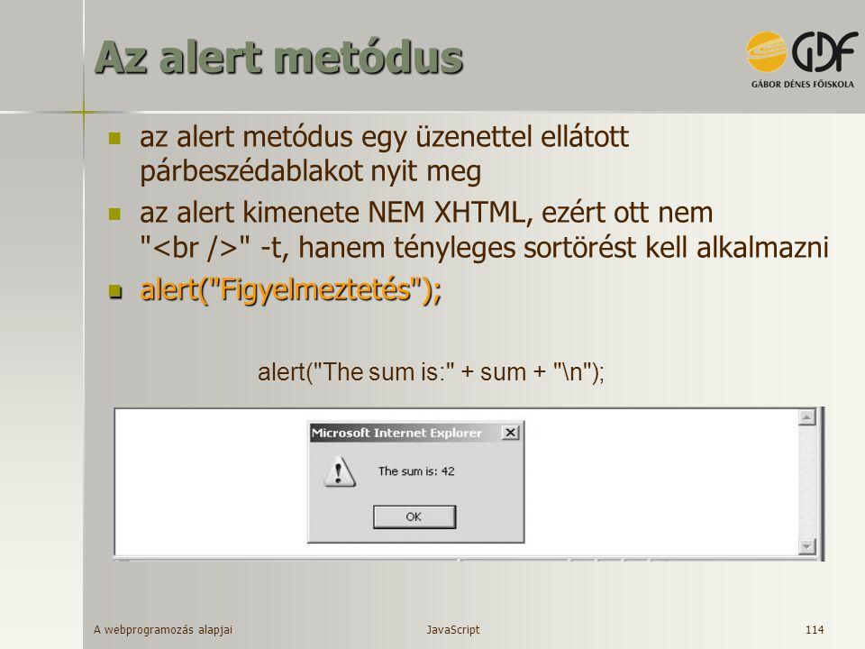 Az alert metódus az alert metódus egy üzenettel ellátott párbeszédablakot nyit meg.