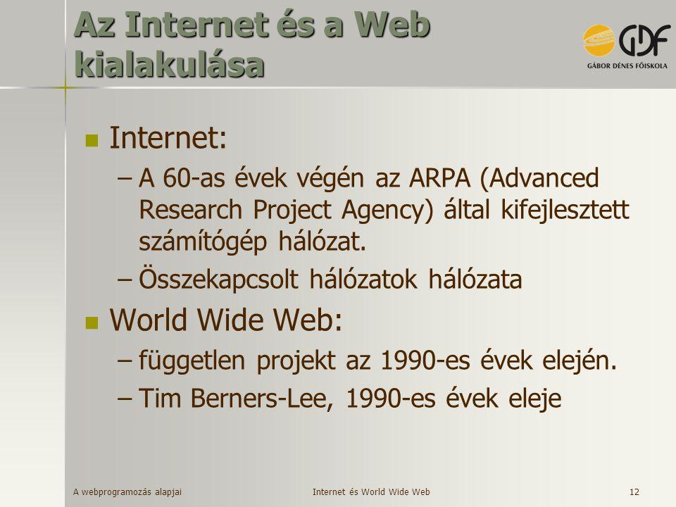 Az Internet és a Web kialakulása