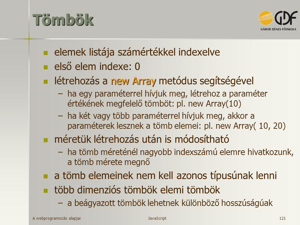 Tömbök elemek listája számértékkel indexelve első elem indexe: 0