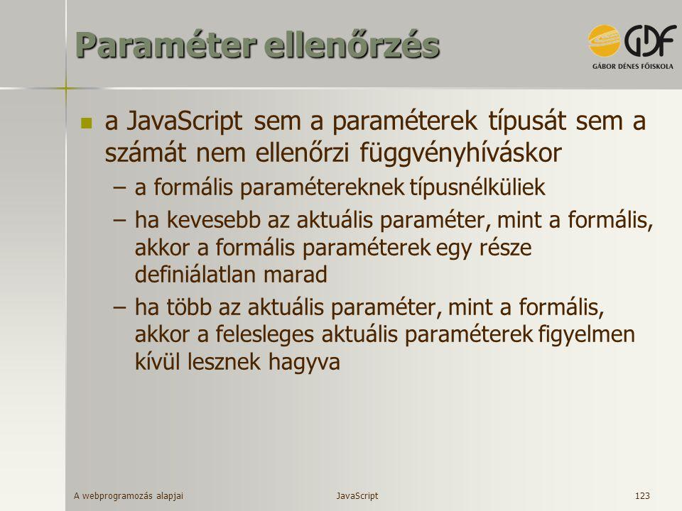 Paraméter ellenőrzés a JavaScript sem a paraméterek típusát sem a számát nem ellenőrzi függvényhíváskor.