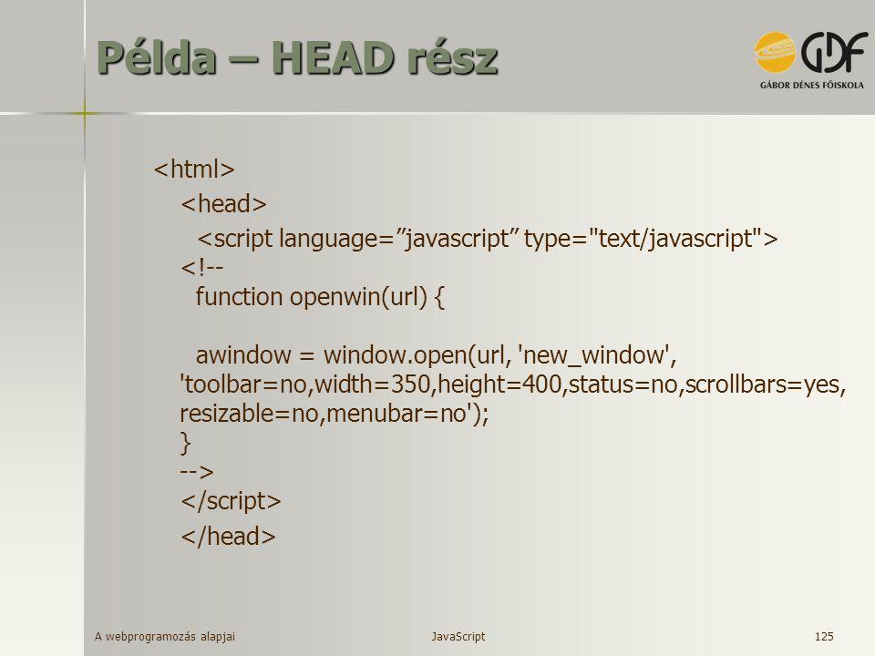 Példa – HEAD rész <html> <head>