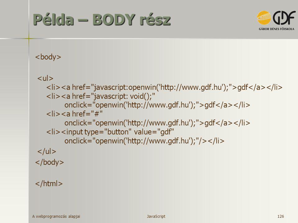 Példa – BODY rész <body>