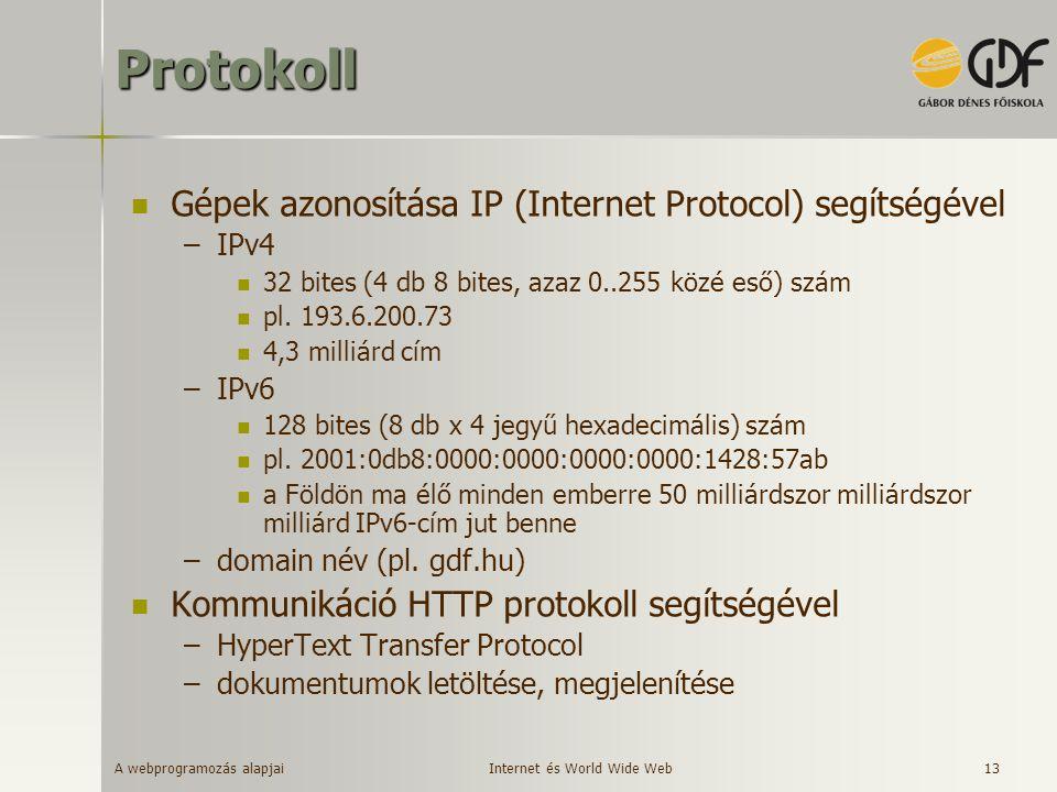 Protokoll Gépek azonosítása IP (Internet Protocol) segítségével