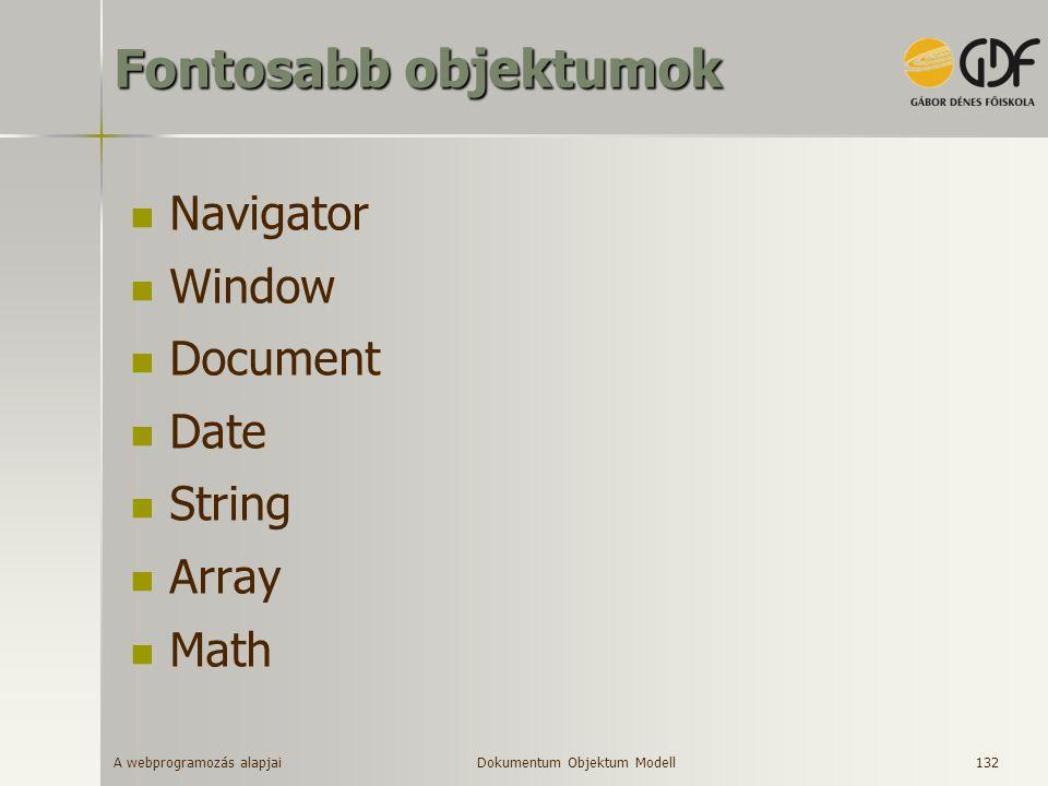 Fontosabb objektumok Navigator Window Document Date String Array Math