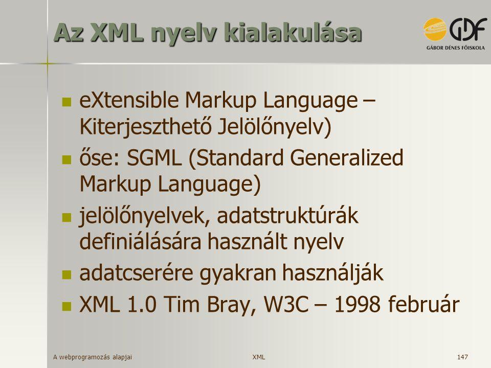 Az XML nyelv kialakulása