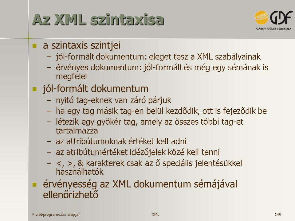 Az XML szintaxisa a szintaxis szintjei jól-formált dokumentum