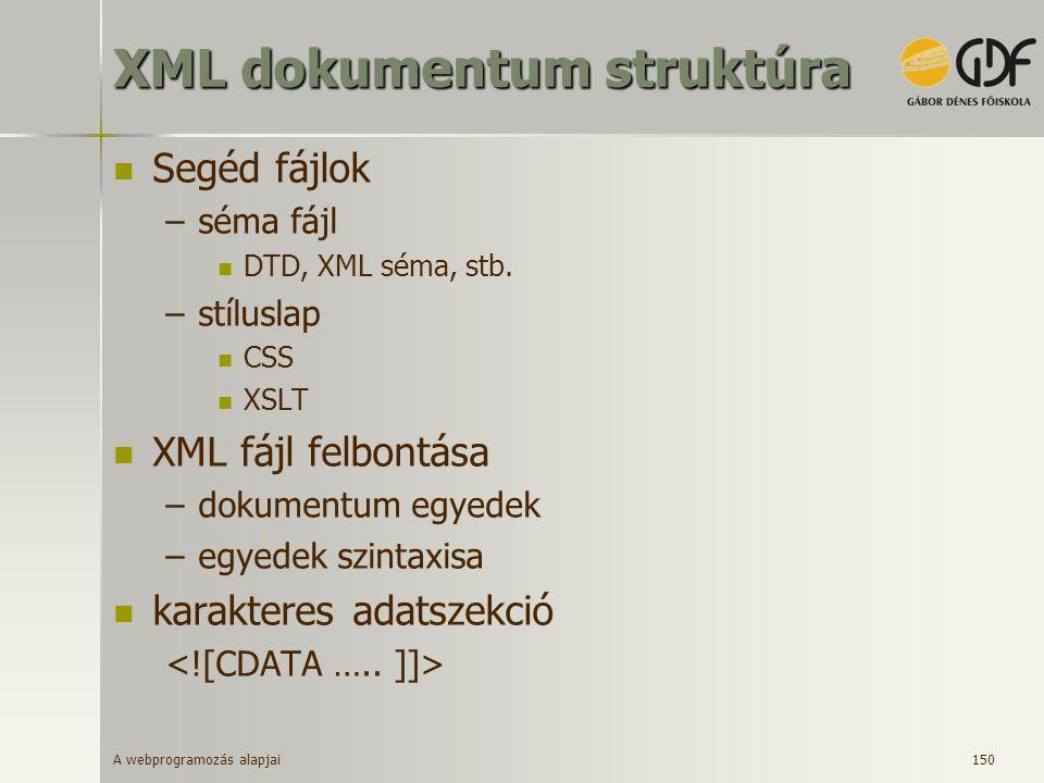 XML dokumentum struktúra