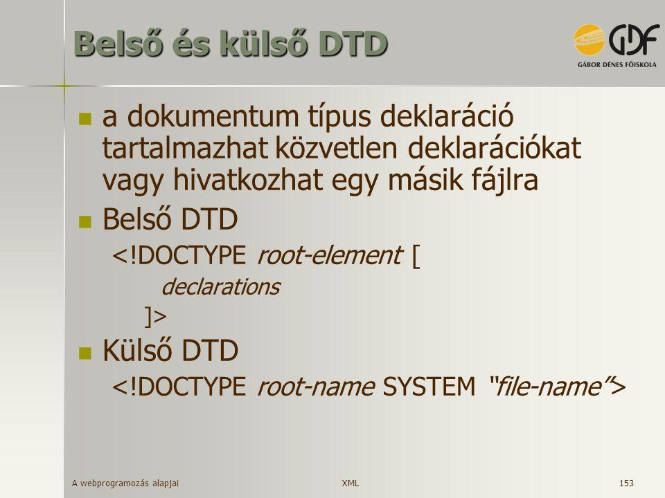 Belső és külső DTD a dokumentum típus deklaráció tartalmazhat közvetlen deklarációkat vagy hivatkozhat egy másik fájlra.