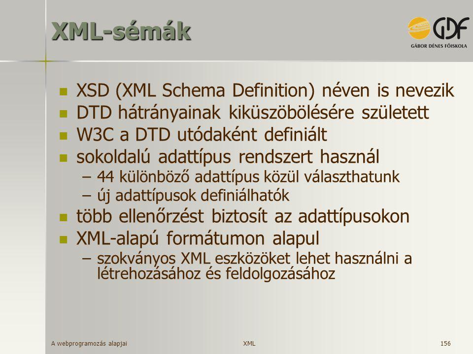 XML-sémák XSD (XML Schema Definition) néven is nevezik