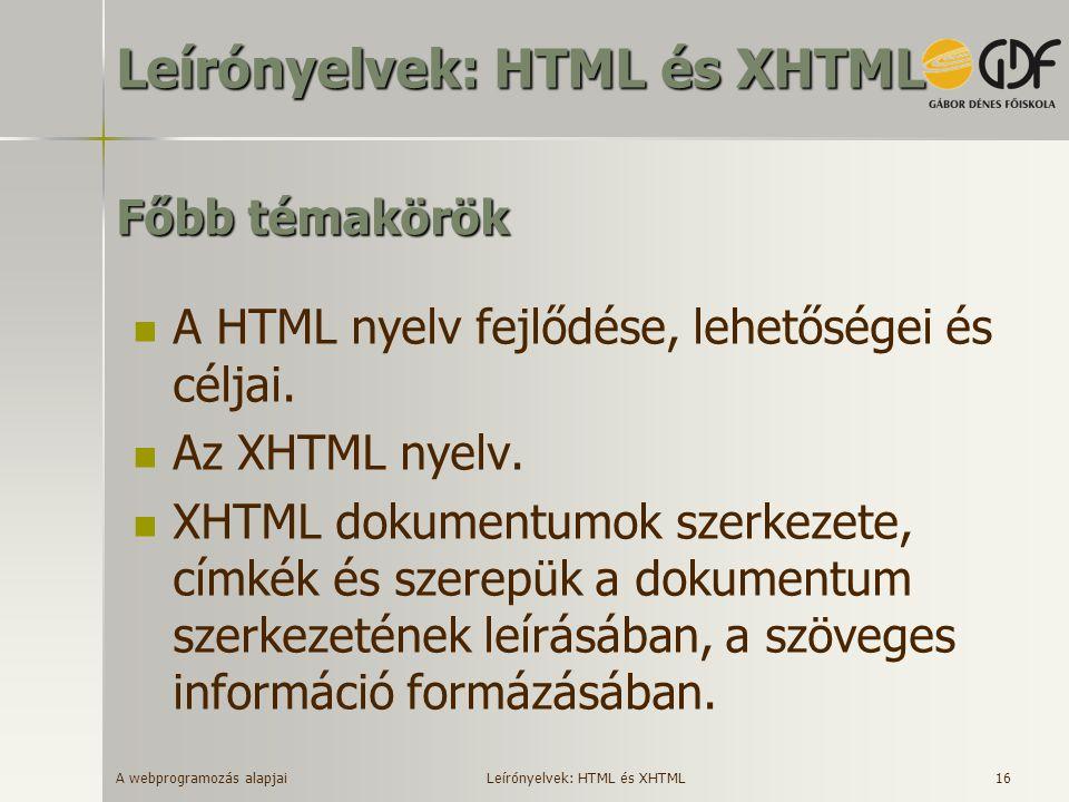 Leírónyelvek: HTML és XHTML